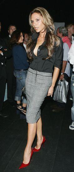 Fashion Transformation of Victoria Beckham: Victoria Beckham in Pencil Skirt, 2005