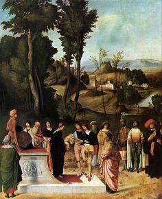 Giorgione, Prova di Mosè, 1502-1505 circa, olio su tavola, 89 × 72 cm, Firenze, Galleria degli Uffizi