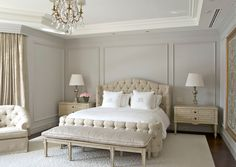 Wall Molding Ideas to Dress Up Your Walls – You Can Do These Yourself Light grey walls in the bedroom look elegant, sophisticated, and glamorous.Light grey walls in the bedroom look elegant, sophisticated, and glamorous. Gray Bedroom, Bedroom Colors, Home Bedroom, Bedroom Ideas, Trendy Bedroom, Master Bedrooms, Bedroom Simple, Bedroom Neutral, Neutral Walls