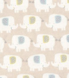Nursery Fabric Smiling Elephants Flannel