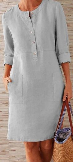 Pockets Front Long Sleeves Linen Mini Dress for a casual look fits daily life Dress Outfits, Fashion Dresses, Shift Dress Outfit, Long Sleeve Midi Dress, Sleeved Dress, Dress Long, Casual Summer Dresses, Dress Summer, Linen Dresses
