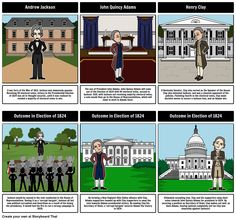 """Jacksonian Democracy - A Corrupt Bargain: For this activity, students will outline the Election of 1824. A storyboard is used to detail the candidates, their positions, and what became known as the """"corrupt bargain""""."""
