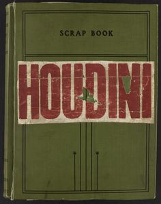 Houdini scrap book with letter press label on the cover