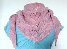 Soft Pink Triangle Scarf  - Hand Knit Alpaca, Bandana Style Wrap Shawl, Lace hearts, Mother's Day gift.