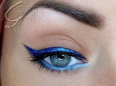 bright blue eyes with blue liner  #eyemakeupideas #eyelooks #beauty #cateye - bellashoot.com