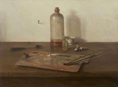 Wilhelmus Antonius 'Willem' van Leeuwen (Den Haag a still life with painter's materials - Dutch Art Gallery Simonis and Buunk Ede, Netherlands.