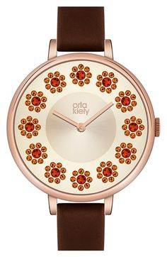 Orla Kiely 'Ivy' Crystal Dial Leather Strap Watch, 40mm available at #Nordstrom