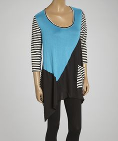 "Blue & Black Color Block Handkerchief Tunic - Women. Color blocking, ""yes"". Oversized, ""yes"". Mostly black and white, ""yes""."