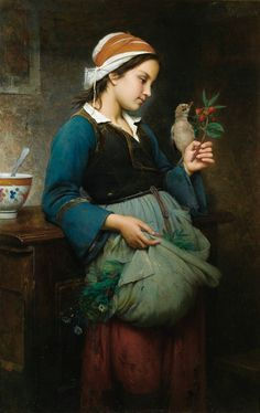 FRENCH PAINTERS: Emile-Auguste HUBLIN Young Girl with a Bird 1872