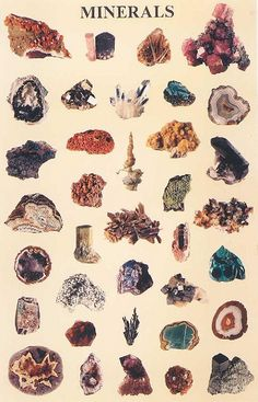 vintage minerals and crystals illustration … Minerals And Gemstones, Rocks And Minerals, Illustration Cristal, Antique Illustration, Mineral Chart, Arte Indie, The Dark Crystal, Rocks And Gems, Stones And Crystals