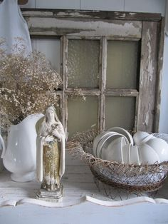 Rustic but beautiful Sainte Therese, St Therese, Home Altar, Old Windows, Window Frames, Shades Of White, Cottage Style, French Cottage, Ladder Decor