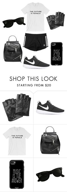 """Go Hard or Go Home"" by giachrysa ❤ liked on Polyvore featuring Karl Lagerfeld, NIKE, adidas, Marc Jacobs, Casetify and Ray-Ban"