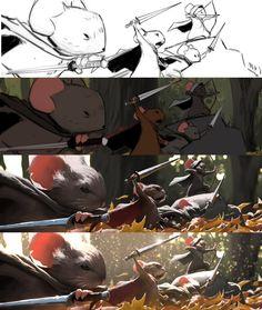 Ryan Lang story based on small animals? Digital Painting Tutorials, Digital Art Tutorial, Art Tutorials, Process Art, Painting Process, Painting & Drawing, Drawing Step, Art And Illustration, Bg Design