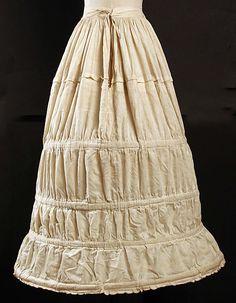 Cotton crinoline (hoop skirt), American or European, 1840s.
