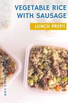 Need an easy lunch idea? This sausage and rice with vegetables is a quick and easy one pot meal that works great to prep for lunch. just reheat the next day! Healthy Homemade Snacks, Healthy Vegetable Recipes, Vegetable Rice, Side Recipes, Pork Recipes, Cooking Recipes, Lunch Recipes, Easy Recipes, Easy One Pot Meals