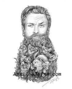 Kitten Beard  Illustration 8 X10signed printman by AlwaysApril, $30.00