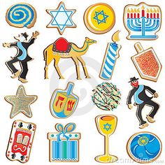 Cute assortment of Jewish Chanukah Cookies, isolated on white