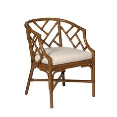 Alcom Rattan Armchair, White - Arm Chairs - Dining Chairs - Dining Room - Furniture One Kings Lane Rattan Armchair, Wicker Chairs, Wicker Furniture, Dining Room Chairs, Club Chairs, Side Chairs, Lounge Chairs, Furniture Design, Office Chairs