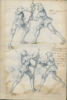 Manuscript for German longsword style, page for half sword moves. These resemble the kata/ style drawing for eastern martial art books/ scrolls. Knight In Shining Armor, Knight Armor, Renaissance, Medieval Armor, Medieval Fantasy, German Longsword, Staatsbibliothek Berlin, Historical European Martial Arts, Armadura Medieval