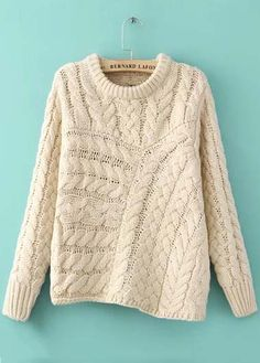 knitting knit cream pattern sweater