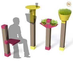Potelets Ludeo en metal avec des modules additionnels pour permettre une courte pause, Guyon, mobilier urbain.