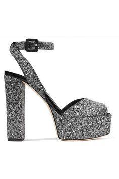 Giuseppe Zanotti - Betty Glittered Leather Platform Sandals - Silver