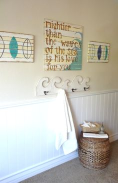 Love the sign and the wave towel hook Surfer Boy Bedroom Nautical Prayer Sign PSALM 93 Etsy. Boys Nautical Bedroom, Nautical Bathrooms, Beach Bathrooms, Nautical Home, Bathroom Kids, Kids Bath, Ikea Bathroom, Bathroom Layout, Coastal Living
