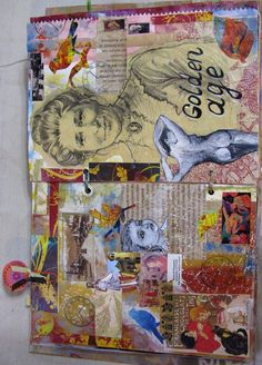 These are pages 17-18 in my Art journal. It's a mixed media collage. The journaling part is folded and hidden under the altered paper clip on the left top ...