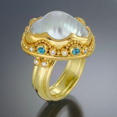 22kt gold granulation, pearl, diamonds.