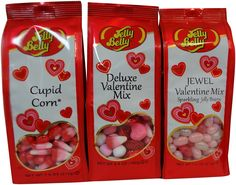 Enjoy a unique mix of Valentine's candy flavors in one convenient set! Each set includes one bag each of Cupid Corn, Deluxe Valentine Mix and Jewel Valentine Mix. Spread love with Jelly Belly!