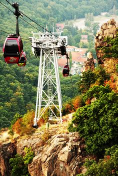 """Bode Valley Gondola Lift to the """"witches dancing place"""" (Hexentanzplatz) in Thale - Saxony-Anhalt - Germany - The Hexentanzplatz is reputedly an Old Saxon cult site, at which celebrations were held in honour of the so-called Hagedisen (forest and mountain goddesses), particularly on the night of 1 May. wiki Gondola Lift, Saxony Anhalt, Wanderlust, My Ancestors, Golden Gate Bridge, Homeland, Austria, Celebrations, Tourism"""