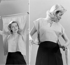 No realy explanation needed! The photos say it all: take a sq, and make it a wrap-around blouse.