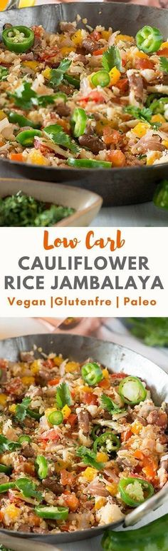 Low carb CAULIFLOWER RICE JAMBALAYA recipe is full of flavors. A creole style dish cooked with lots of vegetables and protein-rich beans and spices. Cauliflower rice recipe that is vegan, paleo, Keto, gluten-free ready in 20 Minutes, tastes awesome.