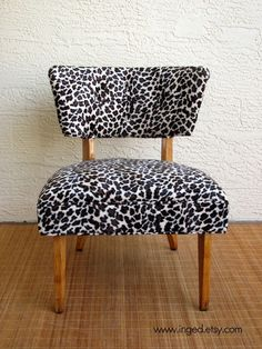 Mid Century Vintage Slipper Chair in LEOPARD Print...........FREE SHIPPING on Etsy, $290.00