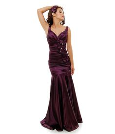 1930s Style Eggplant Ruched Tank Rose Prom Gown - Unique Vintage - Prom dresses, retro dresses, retro swimsuits.