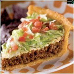 Real Taco Pie – add grilled corn too? (add hot sauce to sour cream – tip from Pi… Real Taco Pie – add grilled corn too? (add hot sauce to sour cream – tip from Pioneer Woman's taco pizza that is so good) Think Food, I Love Food, Food For Thought, Ellies Real Good Food, Mexican Food Recipes, Beef Recipes, Cooking Recipes, Recipies, Cooking Chef