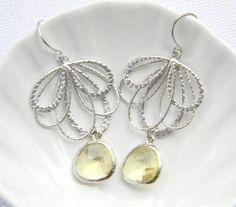 Feather+Fan+and+Lemon+Yellow+Earrings++Silver+by+DanaCastle,+$28.00