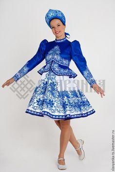 """Купить танцевальный костюм """"Боярочка"""" на синем. - новогодний костюм, гжель, гжельская роспись, танцевальный костюм"""