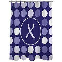 thumbprintz classic block monogram eggplant shower curtain, purple