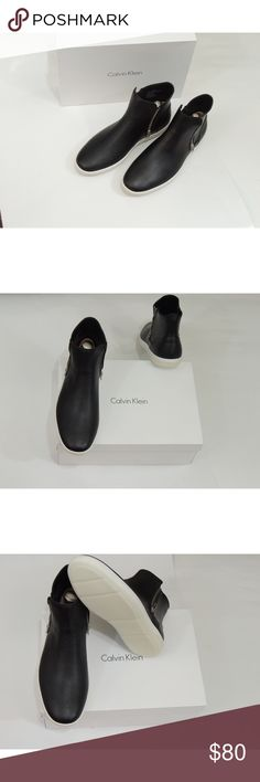 NWT Calvin Klein Boots These Brand new with box high top sneakers have leather uppers to give them a classy yet casual look. These run true to size Calvin Klein Shoes Boots