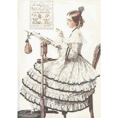 This cross stitch pattern design features a scene from a Norman Rockwell…