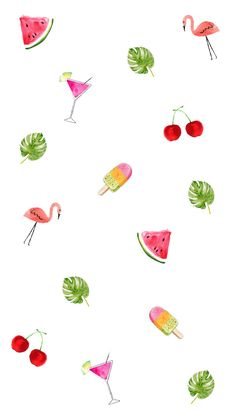 Tropical fern watermelon cherry flamingo icecream wallpaper