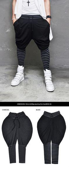 MensTornado Drop Crotch Contrast Stripe Leg Baggy Sweatpants By Guylook.com