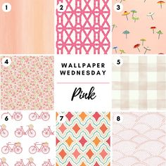 Happy Wallpaper Wednesday! Visit our website to shop our wide selection of wallpapers from various vendors in pink shades and patterns and many more. Wallpaper in this photo includes  1. Seabrook 2. Clairebella 3. Thibaut 4. Brewster 5. York 6. Kravet 7. Thibaut 8. Brewster Happy Wallpaper, Wall Art Wallpaper, Pink Wallpaper, Drapery Hardware, Great Paintings, Fabric Houses, Houston Tx, Wednesday, Shades