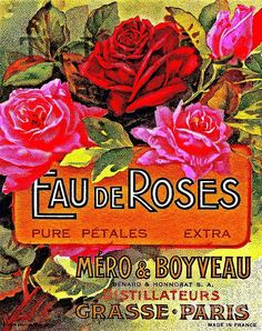 Antique Parisian Victorian chromolithograph rose water advertisement. Digitally restored.