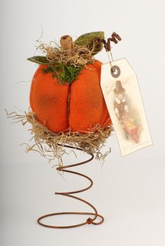 Orange Stuffed Fabric Pumpkin with Vintage Style by shopch2, $20.00