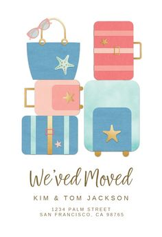 Cute Luggage - Moving Announcement #announcements #printable #diy #template #Moving #newaddress #newhome Cute Luggage, Moving Announcements, Text Messages, Create Yourself, Invitations, Templates, Island, Free, Printable