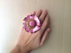 Repurposed Vintage Retro Flower Cocktail Statement by ZiLLAsQuEeN, $32.00