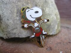 Vintage SNOOPY MOTORCYCLE Pin.  Lapel Pin by TreeTownPaper on Etsy, $14.00