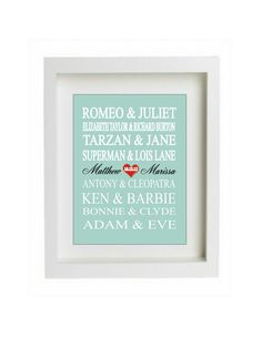 Personalized Couples Gift - Art Print Name - Famous Lovers - custom wedding gift - engagement gift, Bridal Shower Gift Personalized Couple Gifts, Personalized Wedding, Engagement Gifts, Wedding Engagement, Cute Couple Gifts, Bonnie Clyde, Custom Wedding Gifts, Name Gifts, Tarzan
